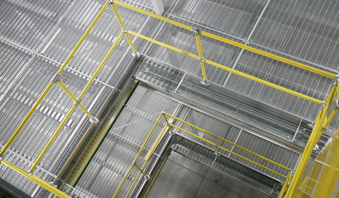 Warehouse guardrails constructed from KEE KLAMP fittings