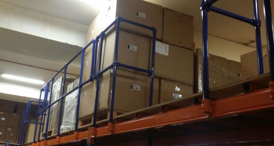 Kee Klamp guardrails used in industrial racking