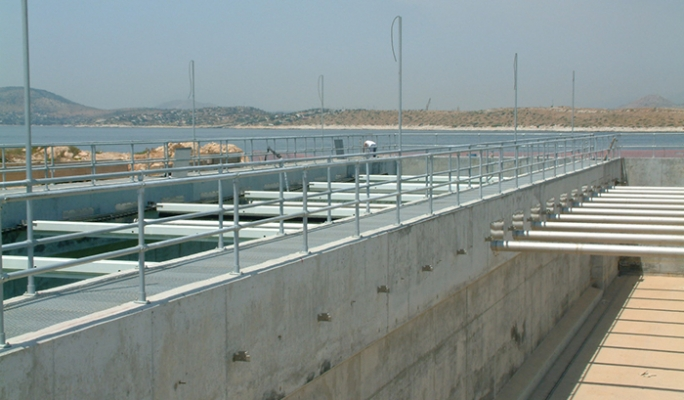 Kee Klamp guardrails at the Psyttalia Wastewater Treatment Plant