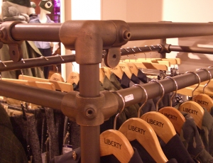 Clothing display rails at Liberty London department store