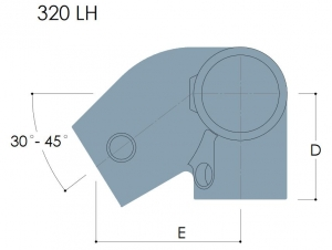 320LH - Left Hand Level to Sloping Down Side Outlet Elbow, 30º to 45º