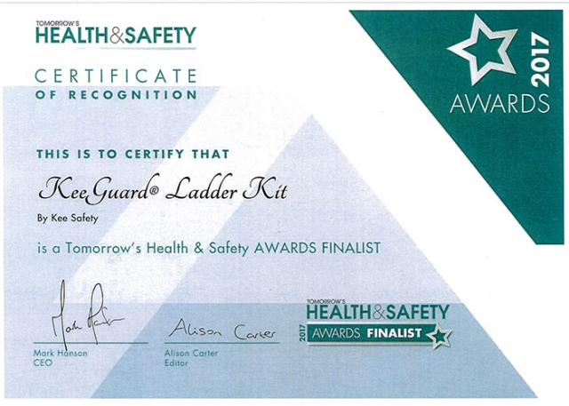 Kee Safety within Tomorrow's Health and Safety Awards Finalists