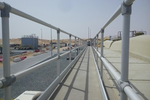Anodised aluminium railings installed at a Sewage Treatment Plant in the UAE