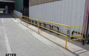 Pedestrian routes near loading and unloading areas after, with safety guardrails and self-closing gates segregating vehicles and pedestrians