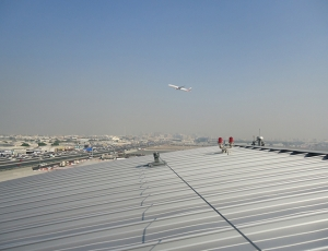 Fall restraint systems installed at the Dubai Flower Centre at Dubai Airports