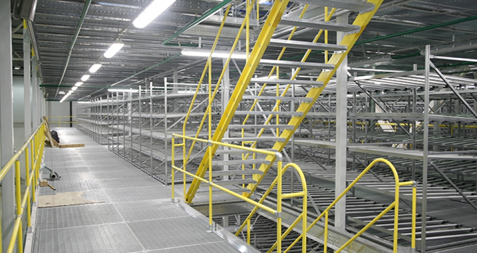 Warehouse safety railings and guardrails