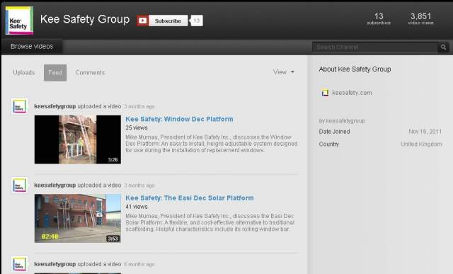 Kee Safety Group introduces YouTube channel