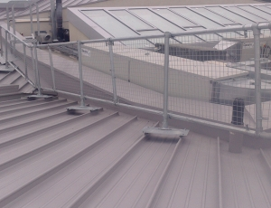 Metal roof guardrails with mesh panels on a standing seam roof