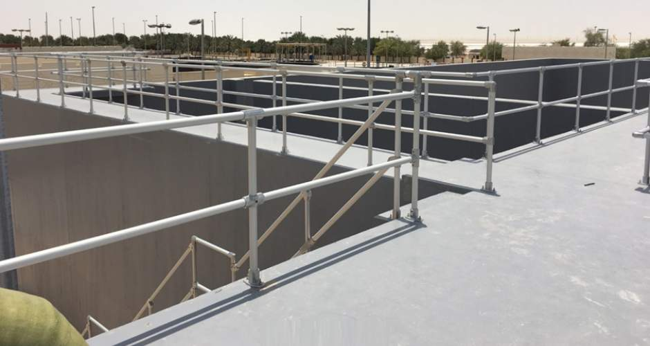 Anodised aluminium guardrail on a sewage plant from Abu Dhabi Sewerage Services Company.