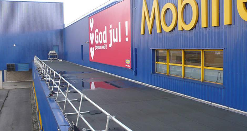KeeGuard free-standing roof edge protection systems at IKEA in France, Paris.
