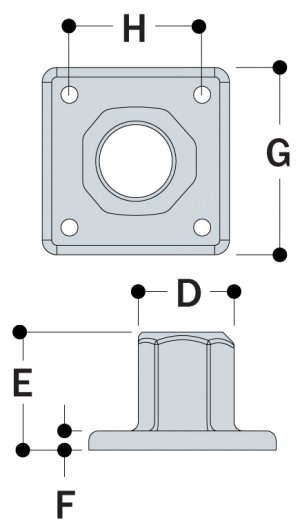 L150 - Heavy Duty 4 Hole Square Flange