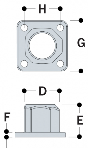 L152 - 4 Hole Square Flange