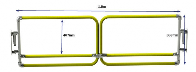 double width self closing gate dimensions