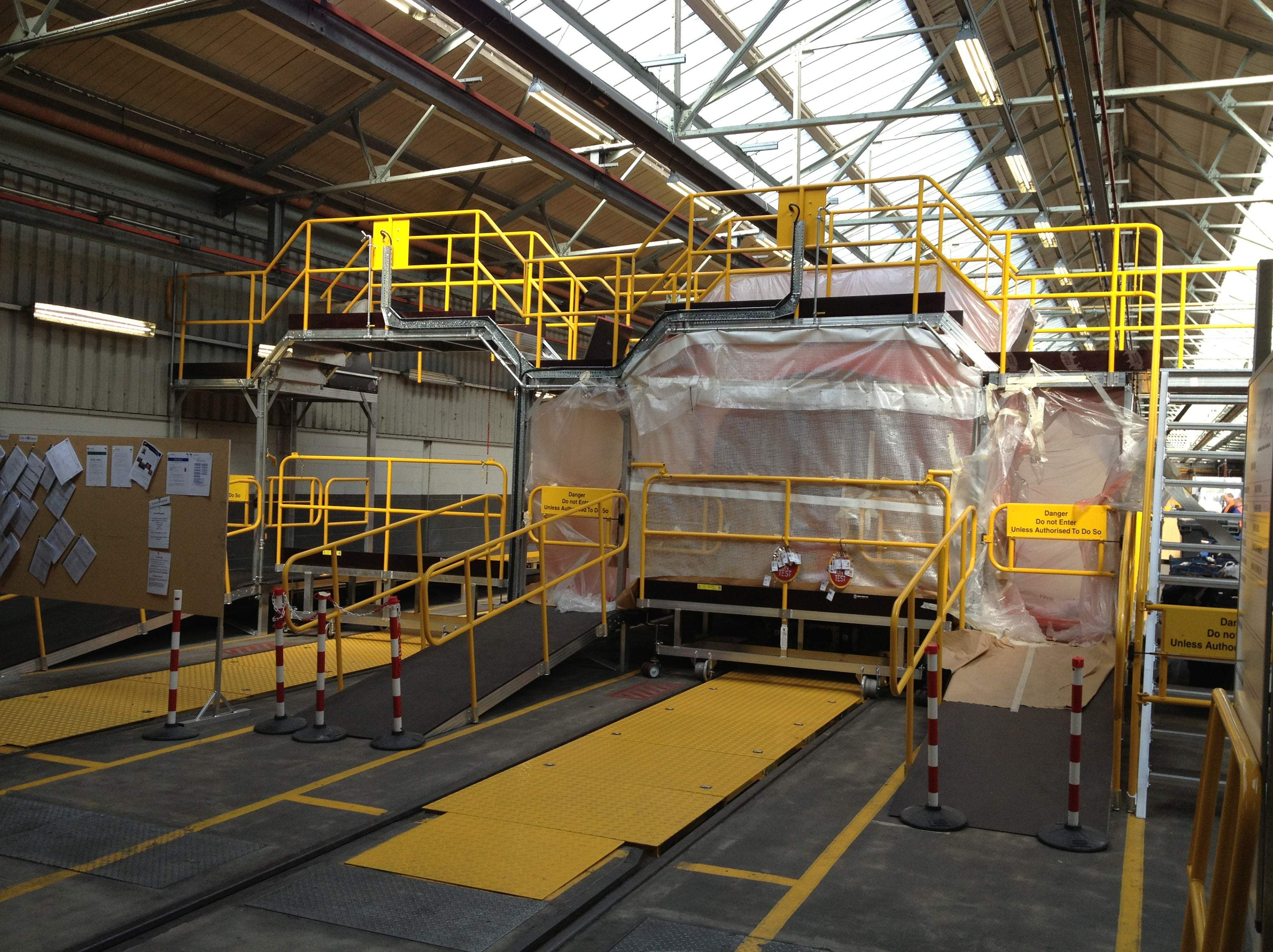 high and wide bespoke access platform for train maintenance